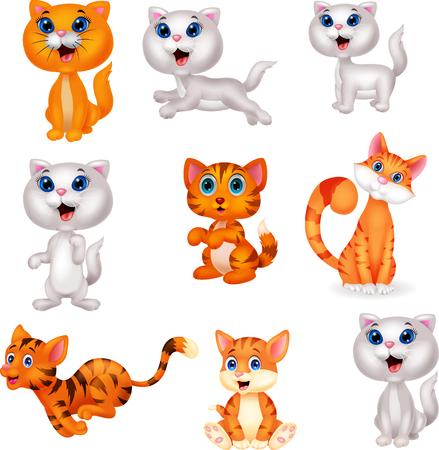 Vector illustration of Cute cats cartoon collection set Illustration