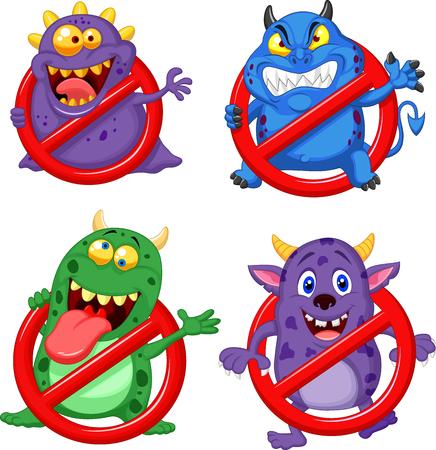 Vector illustration of Cartoon stop virus collection set Illustration