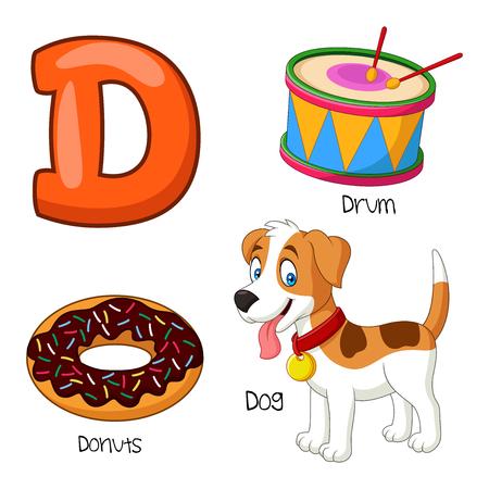 Vector illustration of D alphabet