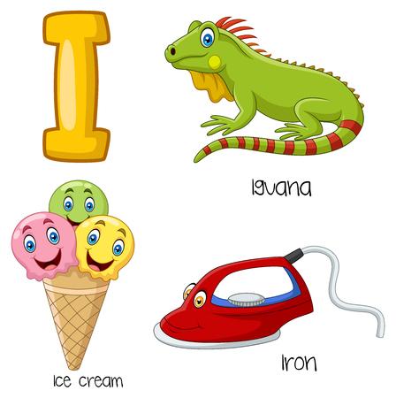 Vector illustration of I alphabet