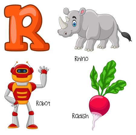 Vector illustration of R alphabet