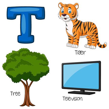 Vector illustration of T alphabet