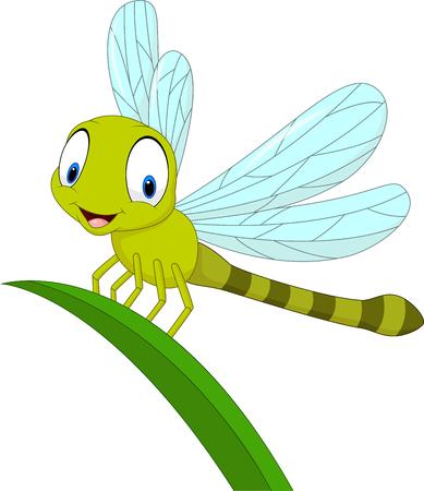 Vector illustration of Cartoon funny dragonfly on leaf