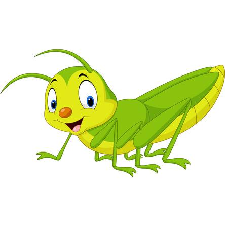 Vector illustration of Cartoon happy grasshopper