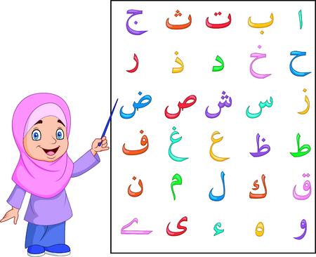 Illustrazione vettoriale di ragazza musulmana che insegna alfabeto arabo