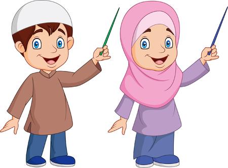 Vector illustration of Cartoon Muslim kid presenting
