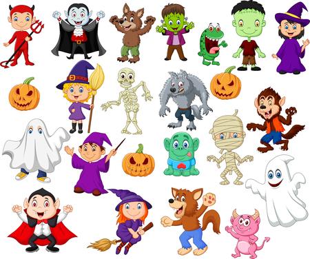Ilustración de vector de grandes colecciones de dibujos animados de halloween