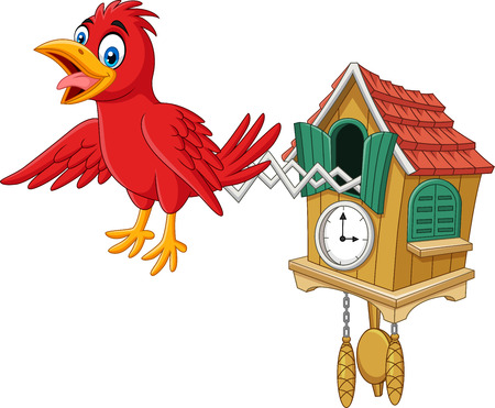 Vector illustration of Cuckoo clock with red bird chirping