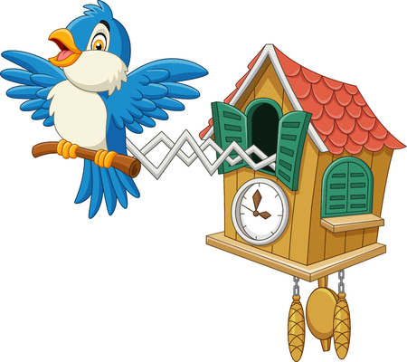 Vector illustration of Cuckoo clock with blue bird chirping