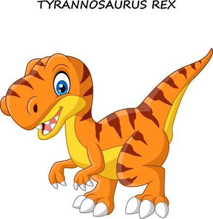 Vector illustration of Cartoon tyrannosaurus isolated on white background Illustration