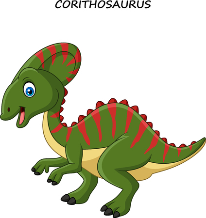 Vector illustration of Cartoon happy corythosaurus