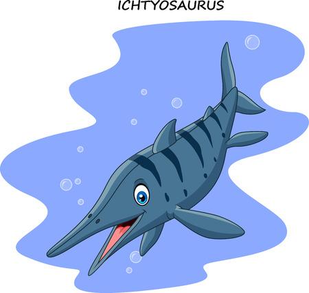 Vector illustration of Cartoon smiling ichthyosaurus