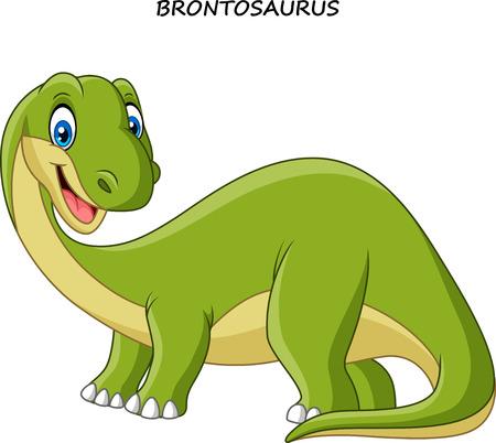 Vector illustration of Cartoon smiling brontosaurus
