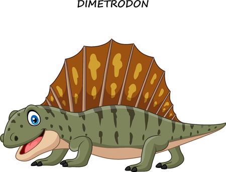 Vector illustration of Cartoon funny dimetrodon