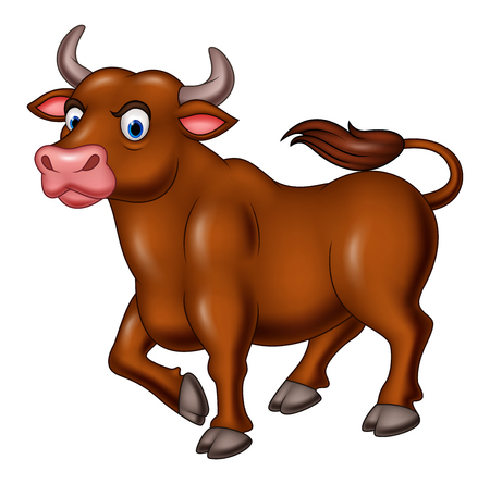 Vector illustration of Cartoon angry bull isolated on white background