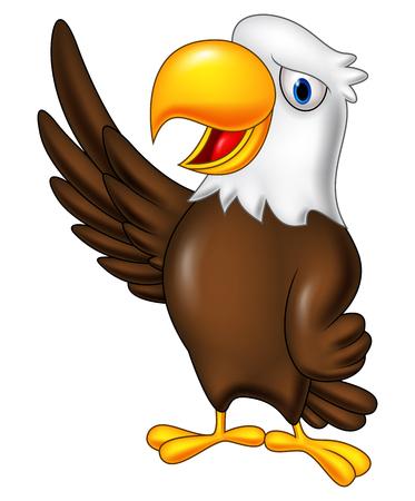 Vector illustration of Cartoon eagle waving