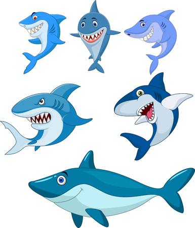 Vector illustration of Cartoon shark collection set Illustration