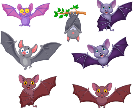Vector illustration of Cartoon bats collection set Illustration