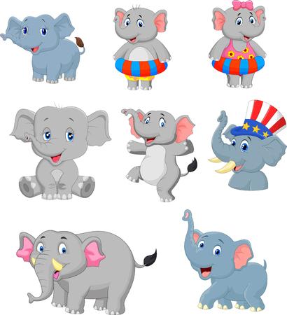 Vector illustration of Cartoon elephants collection set Illustration