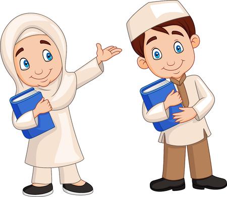 Vector illustration of Cartoon Muslim kids Illustration