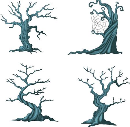 Vector illustration of Cartoon Halloween trees collection set Illustration