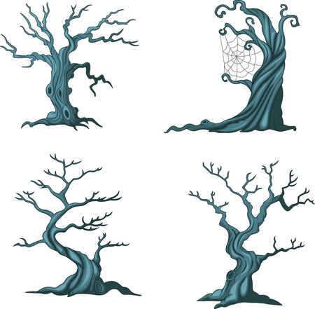 Vector illustration of Cartoon Halloween trees collection set