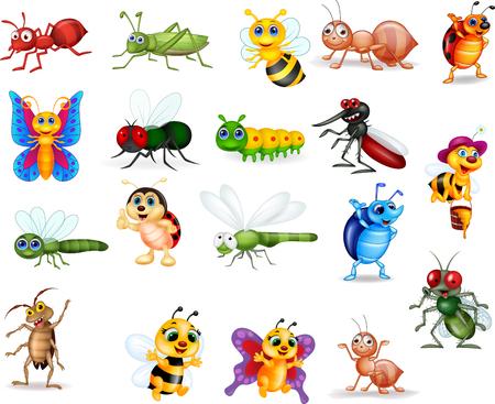 Ilustración de vector de conjunto de colección de insectos de dibujos animados