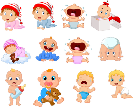 Vector illustration of Cartoon babies in different expressions