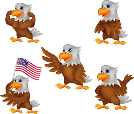 Vector illustration of Cartoon eagles collection set Illustration