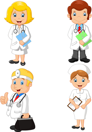 Vector illustration of Cartoon doctors and nurses collection set Vector Illustration