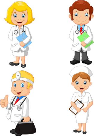 Vektorillustration des Sammlungssatzes der Karikaturärzte und der Krankenschwestern Vektorgrafik