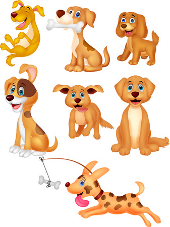 Vector illustration of Cartoon dogs collection set