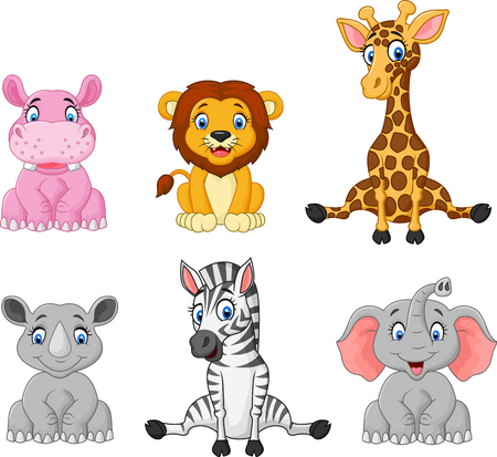 Vector illustration of Wild animal cartoon collection set