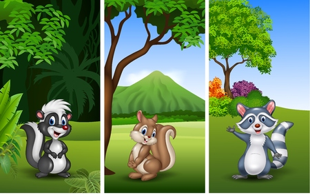 Vector illustration of Set of three funny animals with nature background Illustration