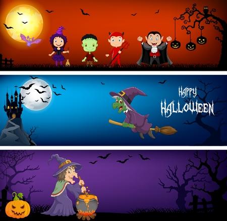 Vector illustration of Three Halloween Banners