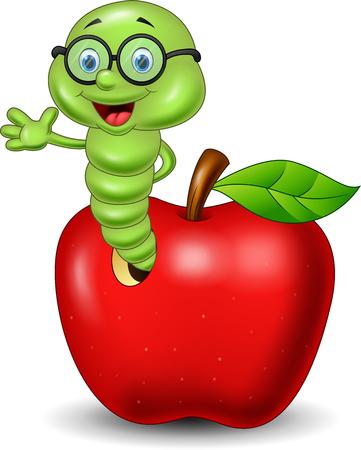 Illustration vectorielle de ver de dessin animé avec pomme rouge Vecteurs