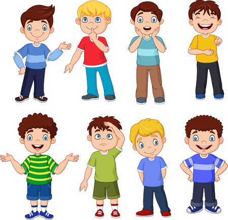 Illustration vectorielle d'enfants de dessin animé avec une expression différente