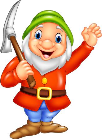 Vector illustration of Cartoon happy dwarf miner Illustration