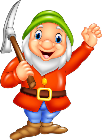 Vector illustration of Cartoon happy dwarf miner Vectores