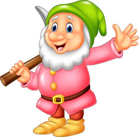 Vector illustration of Cartoon happy dwarf miner