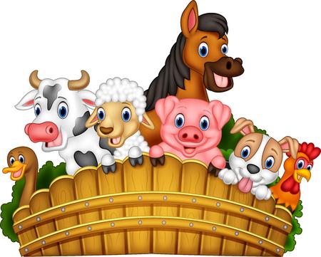 Vector illustration of Cartoon farm animals