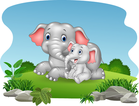 Vector illustration of Cartoon Mother and baby elephant in the jungle