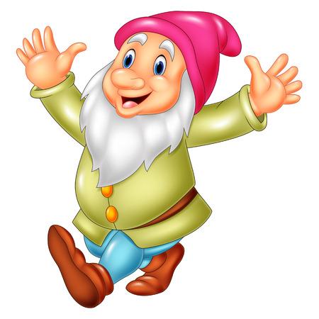 Vector illustration of Cartoon happy dwarf