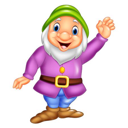 Vector illustration of Cartoon happy dwarf waving Illustration