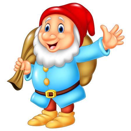 Vector illustration of Cartoon happy dwarf carrying sack