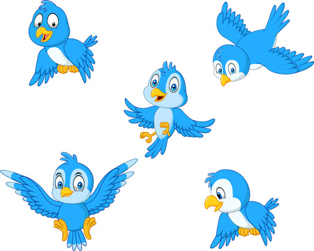 Vector illustration of Cartoon blue bird collection set