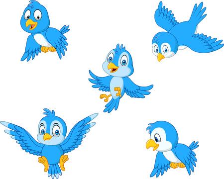 Vektorillustration des Cartoon-blauen Vogelsammlungssatzes