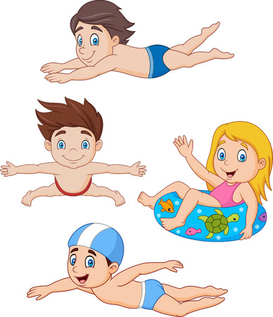 Vector illustration of Collection of kids swimming collection set Illustration