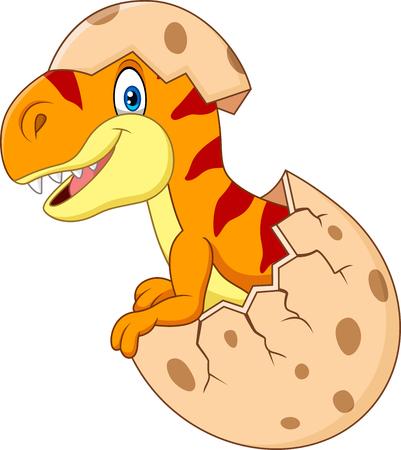 Vector illustration of Cartoon funny dinosaur hatching