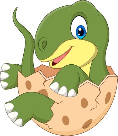Vector illustration of Cartoon baby dinosaur hatching